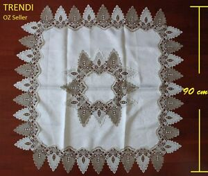 Top Quality White & Grey Lace Square Coffee Tablecloth 90 cm diameter