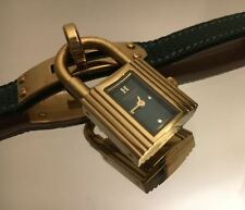 HERMES Kelly Watch Women's Quartz Watch Green Leather Strap Complete in Box