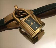HERMES Kelly Watch Women's Quartz Watch Green Leather Strap Complete in Box