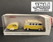 Schuco Volkswagen T1 Camper with Teardrop Trailer 1/64