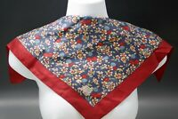 """LIBERTY OF LONDON ENGLAND ALL SILK FRUITS CHERRIES BLOSSOMS SCARF 17"""""""
