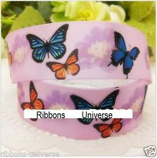 "1 meter, 25mm 1"" butterflies printed satin  ribbon Gift Birthday Craft"
