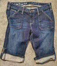 Women's Carhartt Original Fit Bermuda Button Dark Faded Stretch Shorts Size 31