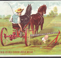 Farm Near-Death Child Walter A Wood Mower Horse c 1888 Advertising Trade Card