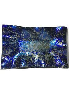 AngelStar Glass Platter, Blue Ocean 16 in. Rectangle Plate,