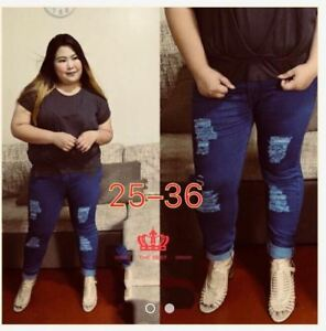 TATTERED JEANS TILL PLUS SIZE Size 30
