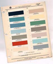 1960 Mercury exterior COLOR CHIP SAMPLE PAINT CHART Brochure