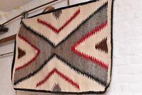 "Antique Navajo Rug native american indian weaving Textile LARGE 49""x33"" Vintage"