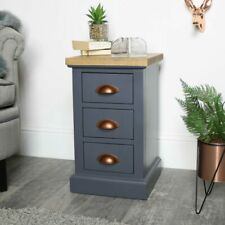 Grey bedside table chest bedroom furniture drawer storage vintage industrial