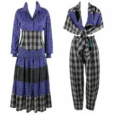 KOOS VAN DEN AKKER c. 1980's 4 Pc Patchwork Blouse Skirt Pants Suit Set w/ Shawl