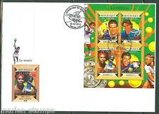 GUINEA 2015 TENNIS NOVAK DJOKOVIC, RAFAEL NADAL, WILLIAMS & TSONGA  SHEET FDC