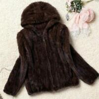 Womens Casual 100% Real Genuine Knitted Mink Fur Hood Coat Jacket Outwear Winter