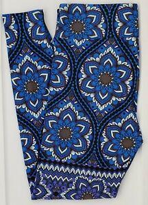 TC LuLaRoe Tall & Curvy Leggings Gorgeous Blue Gray Damask Floral NWT F42