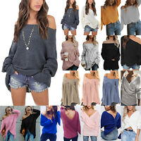 Womens Long Sleeve V Neck Loose Knitted Sweater Casual Jumper Tops Winter Warm