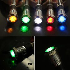 12V 12mm Metal LED Car Boat Dash Pilot Panel Warning Indicator Light Waterproof
