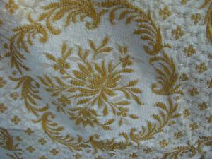 Vintage 70s Brocade Bedspread Fringe 88x90 Rayon Satin Gold Ivory