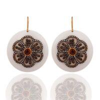 Tourmaline Gemstone White Bakelite Designer Cubic Zirconia Vintage Look Earring