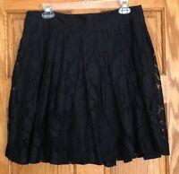 NWT  Ann Taylor LOFT  Black Lace Overlay Full A-line Skirt  Size 8