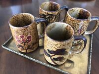 Vintage MCM Coffee Mugs Cups Glazed Drip Pottery Asian Bamboo 15 ou. WOW!