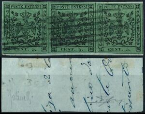 ITALY - DUCHY OF MODENA 1852, 5c VALUE, SCARCE STRIP OF 3 USED STAMPS.  #Z889
