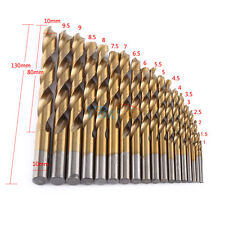 19pc HSS Metric Drill Bit Set Titanium Coated Twist Drills Metal Wood 1-10mm coi