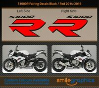 BMW S1000R Fairing Decals. 2014-16 - Gloss Black & Gloss Red Stickers