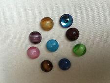 10 CABOCHONS Ronds en verre Effet OEIL DE CHAT 12mm Multicolores