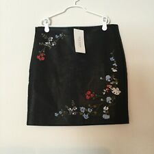 AFTF Basic Leather Skirt Size M Pencil Black Multi-Color Embroidery Mini Lined