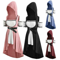 Womens Gothic Dress Plus Size Hooded Faux Twinset High Low Punk T-shirt Blouse