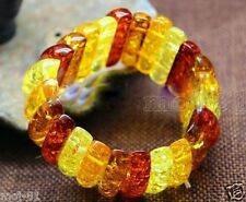 Genuine Baltic Amber Mix Color Tibet Amber Beeswax Stretchy Bangle Bracelet