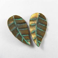 46x24x2mm Jewelry Making Patina Bronze Alloy Leaf Craft Pendant Charm 10 pcs