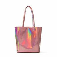 Women Tote Handbag Laser Holographic Shoulder Bag Large Capacity Pink Purse