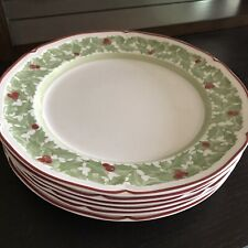 "VILLEROY & BOCH Germany JOY NOEL Holly Pattern 10 1/2"" DINNER PLATES Set of 6"