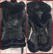 Women's Ladies Long Black Faux Fur Hooded Faux Leather Tie Waist Jacket Swing