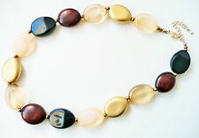 ACCESSORIZE NECKLACE - LARGE OVAL GOLD, WARM BROWN, BLACK, PALE AMBER BEADS_NEW