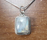 Blue Moonstone with Rope Style Accents 925 Sterling Silver Pendant o98m