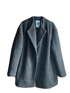 White Stuff UK10 Wool Blend Coat Black/Grey Lagenlook City