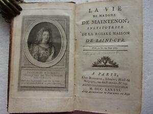 Livre ancien La vie de Madame de Maintenon 1786 Biographie Edition originale