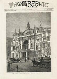OLD ANTIQUE 1881 PRINT GREAT FIRE AT VIENNA THE FACADE OF THE RING THEATRE b151