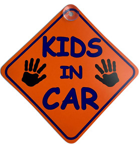 Kids In Car Suction Cup Safety Fun Car Display Window Badge New On Board Sign