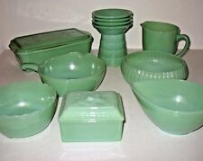 14 Pc Vintage Fire King Jadite Jade Assorted Bowls Pitcher Skillet Loaf Pan Box