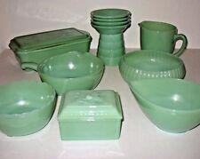 14 Pc Vintage Fire King Jadite Jade Assorted Bowls Pitcher Skillet Loaf Pan Box