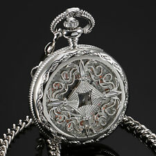 ESS Mechanical Pocket Watch Men's Silver Case Stainless Steel Half Hunter White