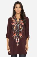 Johnny Was Black Eyelet Garden Blouse Embroidered Tunic Womens Plus Size 1X $248