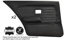 BLACK STITCH 2X REAR FULL DOOR CARD LEATHER COVERS FITS BMW 3 SERIES E30 SEDAN
