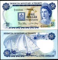 BERMUDA 1 DOLLAR 1986 P 28 c QE II UNC