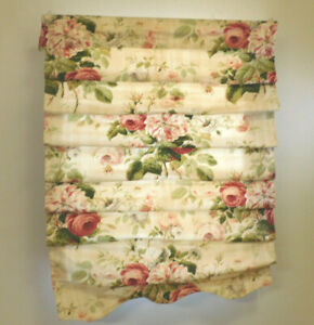 """Roses Custom Roman Shade-36"""" wide-Gorgeous-Scalloped-Cleaned-Cotton"""