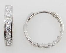 14K White Gold 3mm Thick 8 Stone Set Medium Polished Hoop Huggies Earrings
