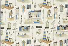 BLACKOUT MTM ROMAN BLIND PRESTIGIOUS SEASIDE LIGHTHOUSE OCEAN BLUE WHITE GREY