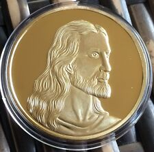 JESUS CHRIST COIN 40mm Finished In Gold .999 1oz Medal Token Catholic Religion